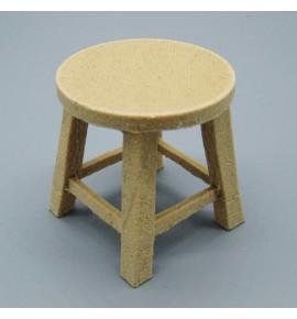 taburete rústico bajo con asiento redondo